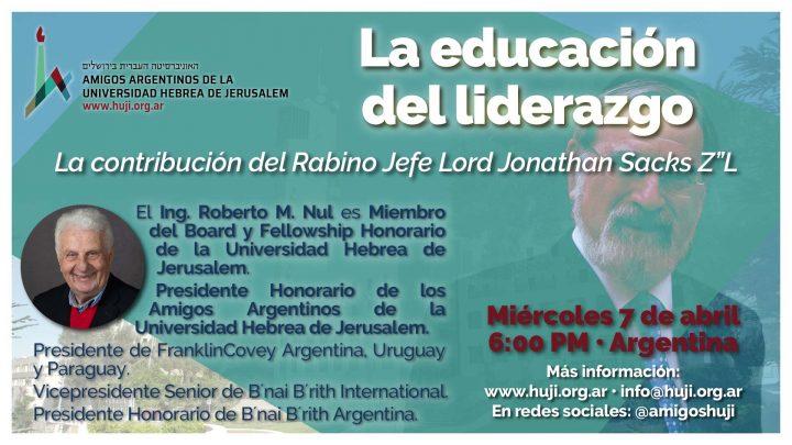 """VIDEO: La educación del liderazgo   La contribución del Rabino Jefe Lord Jonathan Sacks Z""""L"""
