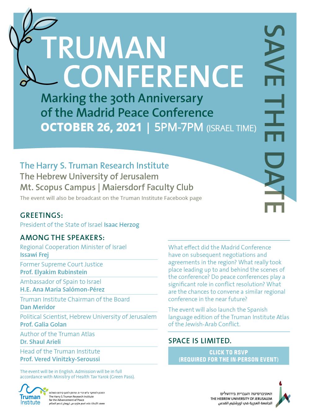 El Instituto Truman conmemora los 30 años de la Conferencia de Paz de Madrid